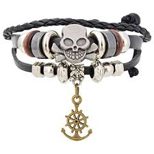 Aaishwarya <b>Skull</b> & <b>Anchor</b> Charm Leather Bracelet for Men & Women