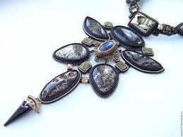 "<b>Колье</b> из бисера и камней ""Андромеда"" | Бисер, Кристаллы ..."