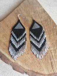 Long <b>seed bead</b> earrings, Black and <b>silver</b>, black beads earings ...