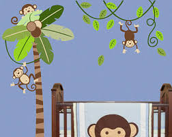 palm tree wall stickers: monkey tree wall decal safari tree decal palm tree decal monkey decal