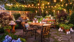 patio dining: patio arranged for entertaining after dark