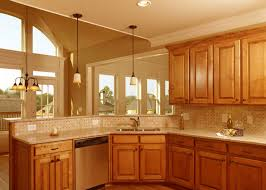 kitchen design cabinets traditional light: traditional design feat corner sink and ceramic backsplash design ideas with simple brown cabinet in kitchen