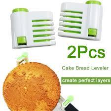 2Pcs Plastic <b>Adjustable</b> Cake Bread Leveler 5 Layer Slicer Cutting ...
