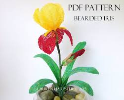 A French <b>Beaded</b> Flower Pattern for a Bearded Iris designed by ...