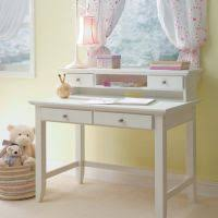 classic white wooden table with drawers and shelf plus pink shade table lamps also cheap office shelving
