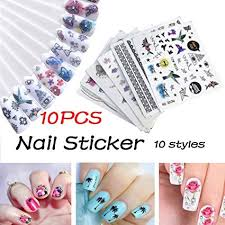 Gaddrt <b>10Pcs</b> DIY <b>Nail</b> Sticker <b>Applique</b> Adhesive Flower Rattan ...