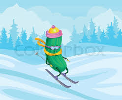 <b>Funny</b> cucumber character wearing <b>knitted</b> hat and scarf <b>skiing</b> ...