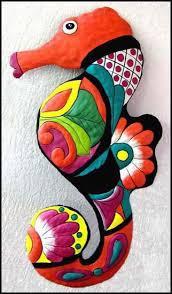 art tropical decor house seahorse metal wall art painted metal seahorse by metalartofhaiti trop