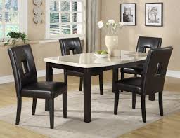 White Marble Dining Table Dining Room Furniture Deluxe Black Round Marble Dining Table And Leather Upholstered
