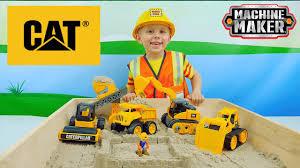 Экскаватор <b>конструктор CAT</b> и кинетический песок для детей ...