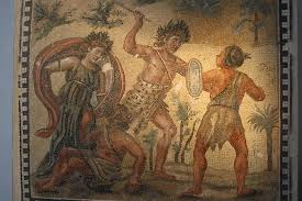 a r floor mosaic dating to the th century ce and depicting a r floor mosaic dating to the 4th century ce and depicting dionysos fighting ns