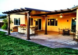 great alumawood patio covers in brown with white ceiling with fan and light plus kitchen island brown covers outdoor patio