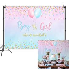 <b>NeoBack</b> Boy or Girl <b>Gender Reveal</b> Backdrop Blue Pink Dots ...