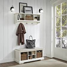 Shop Brennan <b>2 Piece</b> Entryway <b>Bench</b> and Shelf <b>Set</b> in White - 41.5 ...