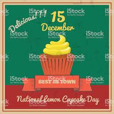 National Lemon Cupcake Day Retor Poster Vector Stock Vector Art ...