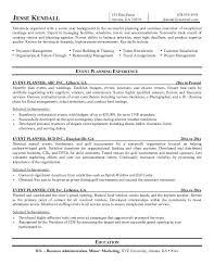 Experienced Event Planner Resume Free Resume Templates