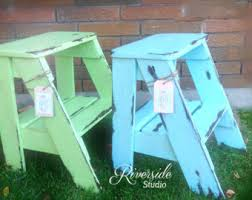 step stool pick your colour rustic shabby chic furniture bedroom side table cottage farmhouse rustic step ladder ships from canada blue shabby chic furniture