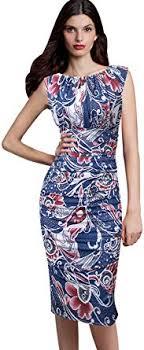 VfEmage Womens <b>Elegant Ruched Floral</b> Print Casual Party Sheath ...