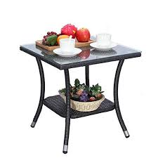 Ulax <b>3</b>-<b>Piece</b> Patio Outdoor Backyard Wicker <b>Bar Set</b> with Table and ...