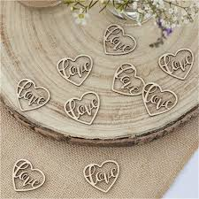 Rustic Country <b>Wooden Heart Love</b> Confetti - <b>24pcs</b> | Party Delights