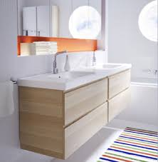 Recessed Bathroom Mirror Cabinets Recessed Shelf Above Sink Striped Rug Decor Paired With Wooden