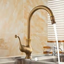 Antique Brass Kitchen Faucets Deck Mounted Mixer Tap 360 ...