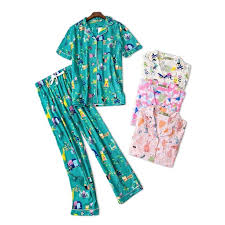 Cute Cartoon 100% <b>Cotton Pajama</b> Sets <b>Women</b> Short Sleeve ...