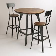 table for kitchen: of furniture for kitchen design and decoration using black metal wooden tall kitchen chair and round pedestal wooden black metal small bar kitchen table