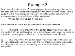 "war photographer"" isolation cel critical essay feedback  ppt  exampleit is clear that the editor of the newspaper the war photographer works for"