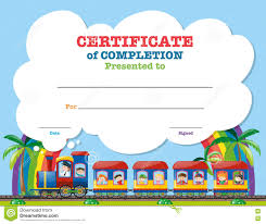 certification template children on the train stock vector certification template children on the train