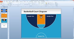 free basketball court powerpoint templatehalf basketball court