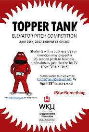 topper tank elevator pitch competition join us for our spring 2017 topper tank pitch competition