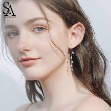 <b>SA SILVERAGE 925 Sterling</b> Silver White Glass Ball Drop Earrings ...