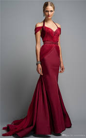 Fitted Bodice Dress Burgundy Evening Dresses Zac Posen Sexy Off Shoulder
