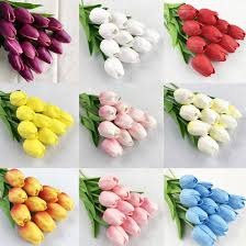 Fake Flowers <b>10pcs</b>/<b>lot Tulip Artificial Flower</b> Cute Plastic Bouquet ...
