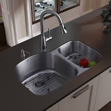 undermount kitchen sink stainless steel: undermount stainless steel kitchen sink faucet two grids two strainers and dispenser