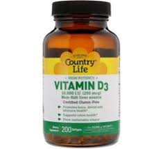 Country Life, Витамин D3, высокоэффективный, 10000 МЕ, 200 ...