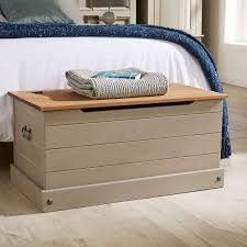 Home Source Solid Wood Ottoman <b>Storage Chest Mexican</b> Grey ...