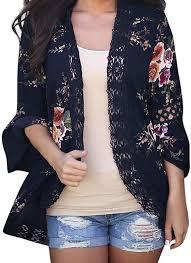 ESAILQ <b>Summer</b> Spring Fashion Women Lace Floral Open <b>Cape</b> ...