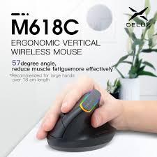 <b>Delux M618C</b> 2.4G <b>Wireless Mouse</b> Ergonomic Vertical Gaming ...