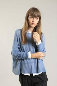 Dusty <b>Blue boat neck</b> Oversize knitted shirt with Long Sleeves ...