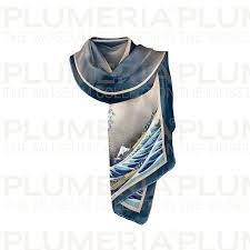 Scarf, Hokusai, The <b>Great</b> Wave, 40x160cm, <b>100</b>% <b>Silk</b> | PLUME