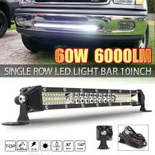 <b>Super</b> Bright 10inch <b>60W</b> LED Light Bar <b>Slim</b> Single Row Spot Beam ...
