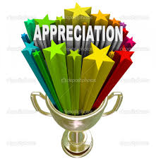 appreciation award recognizing outstanding effort or loyalty this golden trophy stars and the word appreciation shooting out of it in recognition of outstanding effort loyalty or hard work performed on