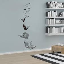 <b>Open</b> Book Fly Birds <b>Wall Sticker</b> Library Classroom Reading Book ...