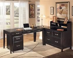 mesmerizing l shaped desk with hutch home office which is installed with several black drawers and placed below classic japanese style of flower paintingjpg black office desk office desk