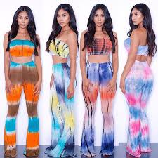 <b>2016</b> Summer <b>Plus Size</b> 2 piece Set <b>Women</b> tie dye flare pants set ...