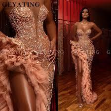 Luxury <b>Crystal Beaded</b> Side Slit Mermaid Prom Dresses <b>Sexy</b> ...