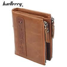 <b>Baellerry Men Wallets Genuine</b> Cow Leather Double Zipper Card ...