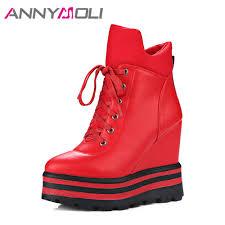 <b>ANNYMOLI Women</b> Ankle <b>Boots</b> Platform Wedge High Heels Warm ...
